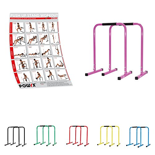 POWRX Dip Barren (Paar) inkl. Workout | Push Up Stand Bar | Dip Station | Fitness Rack | Core Trainer (Pink, 90 x 65 cm)