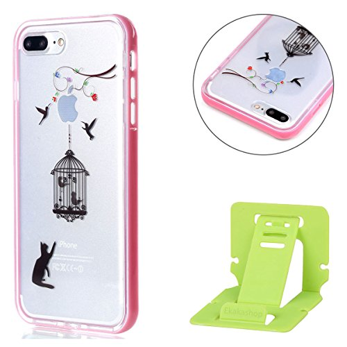 iPhone 8 plus 2-in-1 (Tpu silicone Custodia e PC Frame)Transparente Cover, iphone 7 plus Cover Puro, Ekakashop Moda Disegni Vintage Elegante Colorate Ultra Slim Sottile Morbida Soft TPU Silicone Clear Gatto e Birdcage