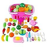 YVSoo 38er Set Küchenspielzeug Einkaufskorb Kinder Obst und Gemüse Zum Schneiden Rollenspiel Kinderküchen Spielzeug Zubehör Frühkindliche Bildung