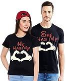 Maniac Couples Printed Halfsleeve Round Neck Black Cotton Tshirts - (Men-S,Womens-S)