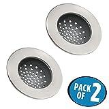 mDesign Set da 2 Filtro lavandino in metallo resistente all'acqua – Retina cattura capelli – Retino cattura residui di cibo – argento opaco