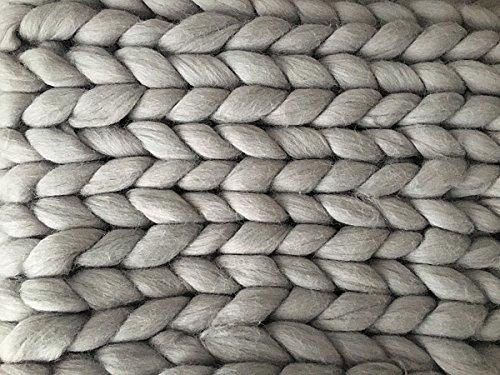 Merino Chunky 'Rene' Wolldecke XXL Kuscheldecke Grau Dicke Decke Wolle Warm Handmade Strick...