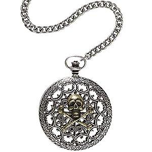 WIDMANN?Reloj de bolsillo con cadena calavera Lusso Unisex-Adult, Gris, talla única, vd-wdm46752