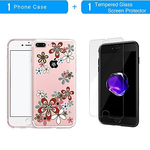 iPhone 7 Plus Hülle, TrendyBox Transparent Weiche TPU Ränder mit hartem PC Rückdeckel Schutzhülle Hülle für iPhone 7 Plus mit Gehärtetem Glas Displayschutzfolie (Bunte Musik) 122
