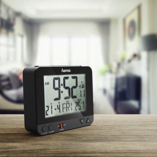 """Hama Funk-Wecker """"RC550"""" sensorgesteuerte Nachtlichtfunktion, Schlummerfunktion, schwarz, Temperatur- und Datumsanzeige - 5"""