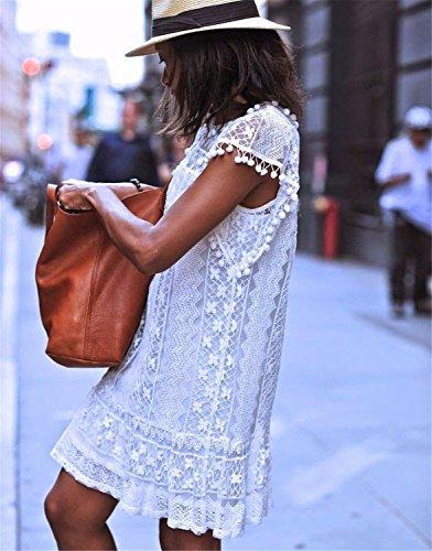 9406157f5ebf Minetom Donne Ragazze Estate A-Line Vestito Uncinetto Stampa Floreale  Vestito Con Palla Frange Mini Abito Bianco 48