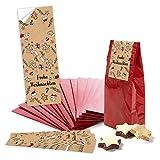 25 kleine Papiertüte rote Boden-Beutel mit Pergamin-Einlage 7 x 4 x 20,5 cm + 25 Weihnachts-Aufkleber rot weiß schwarz beige LEBKUCHEN-MANN Verpackung Geschenk weihnachtlich Kraftpapier