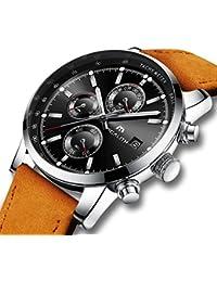ced99a7e843 Montre Homme Montre Militaire Etanche Sport Chronographe Calendrier de Date Montres  Bracelets en Cuir Marron Chronometer Mode Luxe…