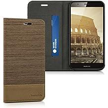 kwmobile Funda para Huawei G8 / GX8 - Case con tapa cover de tela con cuero sintético - Carcasa plegable arena marrón