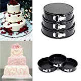 Dishan Set of 3 Round Aluminium Non-Stick Backing Cake Moulds Pan Can be Used in Microwave Ovens (Black)