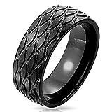 ´ Tensis Coolbodyart Bague Acier Inox noir 8mm largeur à motif Bande de roulement de pneu disponible Taille de bague 60 (19) - 69 (22) - Noir