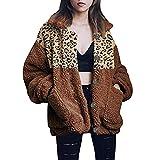 ALISIAM Chaqueta de Tendencia de Moda para Mujer Chaqueta de Talla Grande Blusa de Empalme de Leopardo Tops cálidos Sudadera Informal Traje de acrílico Ropa de Abrigo de Invierno