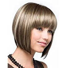Peluca de cabello liso y corto suave, varios colores