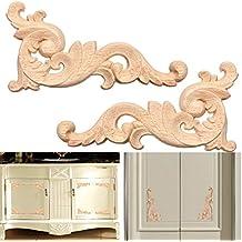 2 unds Apliques esquineros de madera para restauracion decoracion de muebles cabeceros aparadores armarios de OPEN BUY