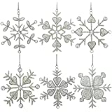 ornamenti del fiocco di neve della decorazione dell'albero di natale ciondoli 15,24 centimetri set di 6