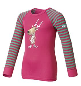 Odlo Kinder Unterhemd Shirt Long Sleeve Crew Neck Warm Trend Kid's, magenta - mystic green, 80, 150459