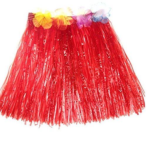 Siwanm Hawaii-Kostüm Hula-Tanz-Kostüme Grasrock, Gras-Kleid für Tanz, Sommer, Strand, Party, Hawaii-Rock mit verstellbarem Bund für Kinder und Frauen, Stoff, rot, 40 cm