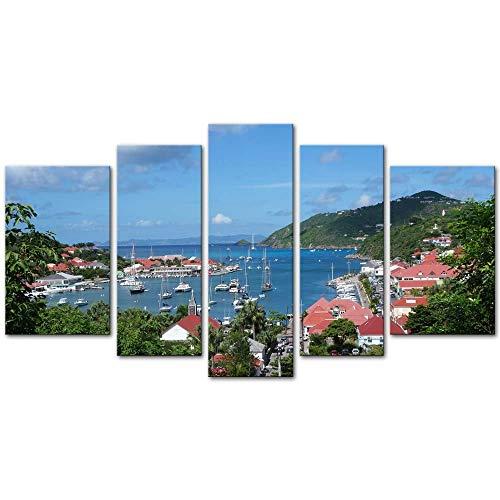 Wandkunst Dekor Poster Malerei Auf Leinwand Drucken Bilder 5 Stücke Gustavia Harbor, St. Barths, Französisch Westindische Inseln Karibik Platz am Meer Gerahmtes Bild für Heimtextilien Wohnzimmer