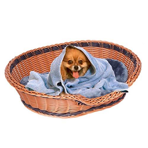 Haustier Bett Korb, Haustiere Gewebte Korb Bett Zum Katzen Und Hunde Träger Haus (Handgefertigte Artikel) (Color : Brown, Size : XL76*59 * 16cm)