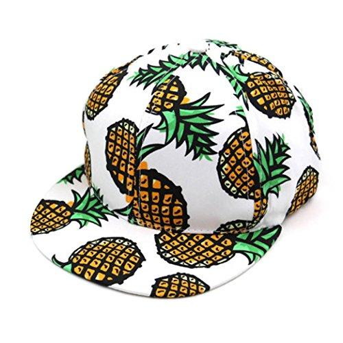Bovake 1PC Ananas-Hysteresen Bboy Hut Verstellbare Baseballmütze Hip-Hop Hut Unisex (White) (Hut Einstellbare Logo Basic)