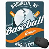 Palla da gioco per baseball e pipistrelli su scudo 558896782 Tappetino per mouse Tappetino per mouse carino Tappetino per mouse in gomma con bordo cucito Tappetino per mouse impermeabile da ufficio 7X