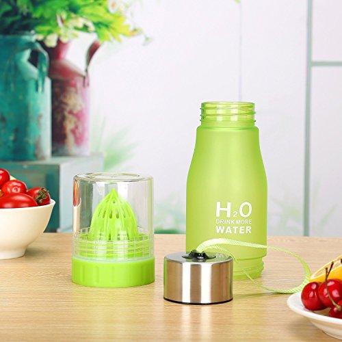 H2O Fruit-Ei 650ml Wasser Flasche–Create Your Own natürlich Geschmack Fruit infundiert Wasser, Saft, Eistee & Limonade für auf der Go Hydration Grün
