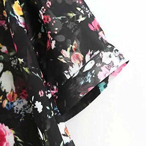 Wenyujh Femme Cardigan Kimono Mince Imprimé Floral Elégant Veste Ouverte Blouse Manche Longue 3/4 Casual Noir