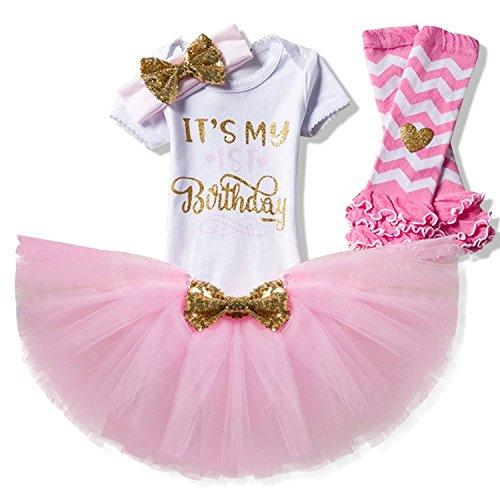 NNJXD Mädchen Neugeborene Es ist mein 1. Geburtstag 4 Stück Outfits Strampler + Rock + Stirnband (+ Leggings) Größe (1) Rosa (1 Jahre) (Ersten Geburtstag Dekoration)