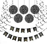 SUNBEAUTY Decoration Anniversaire Noir HAPPY BIRTHDAY Guirlandes Fanions Kit Pompons Guirlande à Spirales Suspension Décoratives (Noir)