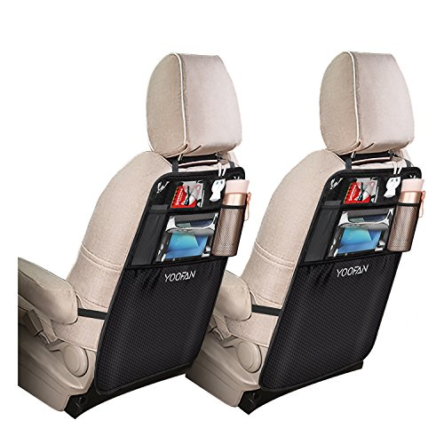 YOOFAN 2 Stück Auto Rückenlehnenschutz, Große Taschen und iPad-/Tablet-Fach, Auto Rücksitz Organizer, Wasserfester Autositz Rückenschutz, Kick-Matten-Schutz in Universeller Passform