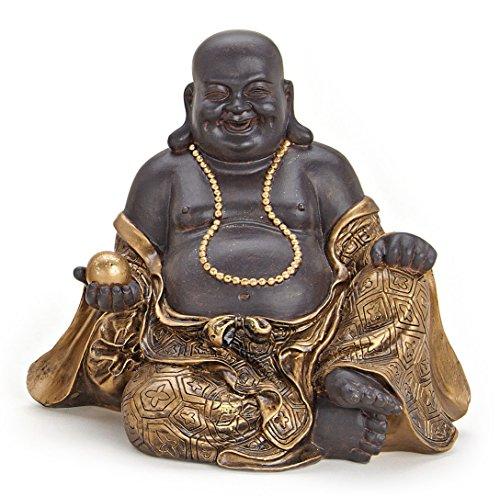 Deko Figur Happy Buddha Figur sitzend, Statue aus Polystein braun und gold, Höhe 20 cm groß, Figur Mönch lachend, Glücksbuddha Budai mit Almosentopf