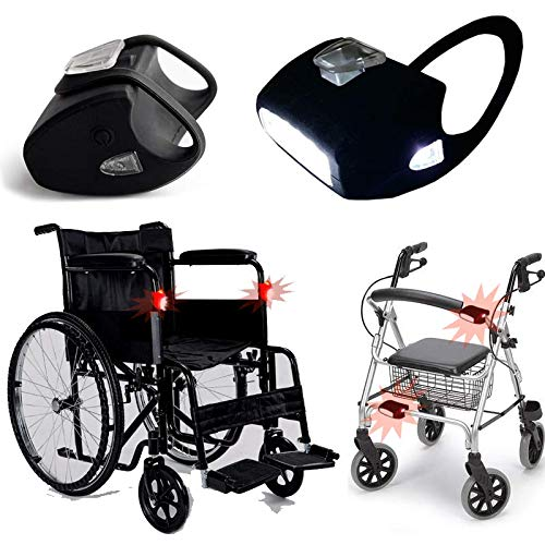 Rollstuhl- Rollator - Lampen SET / 2x Lampen mit 7-L.E.D-weiß in Schwarz - Silikon - Halterung mit Batterien / Top Idee für Rollstuhl / Wasserdicht / Qualitätsarbeit (2 x Lampe)