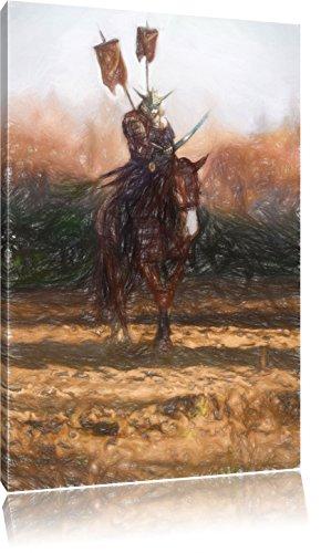 Samurai Krieger auf einem Pferd Kunst Buntstift Effekt, Format: 80x60 auf Leinwand, XXL riesige Bilder fertig gerahmt mit Keilrahmen, Kunstdruck auf Wandbild mit Rahmen, günstiger als Gemälde oder Ölbild, kein Poster oder Plakat (Günstige Samurai Kostüme)