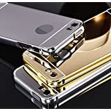 GazE Luxury Metal Bumper Acrylic Mirror Back Cover Case For Apple iPhone 6 6S - Gold (Pure Gold) (FREE TEMPERED GLASS)