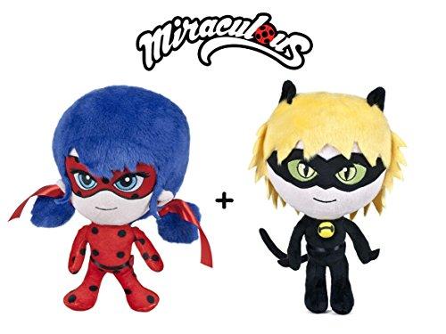 """Miraculous, Le storie di Ladybug e Chat Noir - Pack 2 peluches LadyBug e Cat Noir 16""""/40cm Qualità super soft"""
