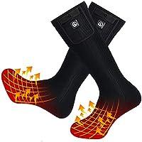 Kit de calcetines calefactados con batería recargable para hombres y mujeres, calcetines de algodón cálido para pies fríos crónicos, deportes al aire libre, caza, camping, senderismo, pesca, Mujer, color negro, tamaño Medium