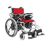 HT BEI Elektrischer Rollstuhl, Faltbarer tragbarer Sorgfalt-Roller, Aluminiumlegierung älterer behinderter intelligenter Lithium-Batterie-Rollstuhl, Rot |