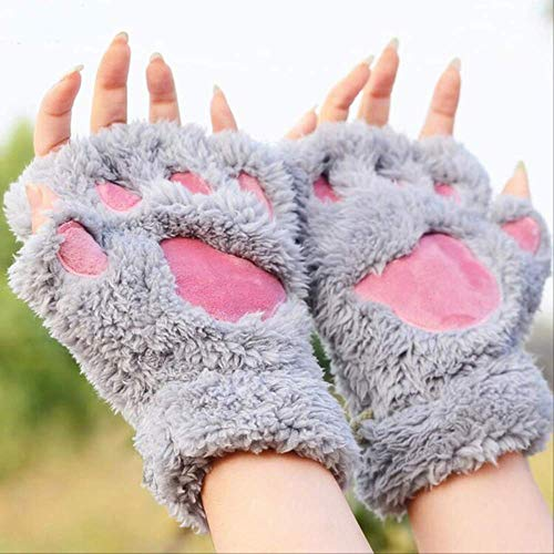 Weibliche Mechaniker Kostüm - taintianxs Schöne Frauen Cat Claw Paw Mitten Plüsch Handschuh Kostüm Nette Winter Warme Half Finger Handschuhe Frauen Weibliche Handschuhe Mitten Grau