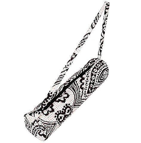 Yogatasche »Kumari« von #DoYourYoga / Echte Handarbeit, 100% Baumwolle mit Kantha-Stickerei. TOP-MARKEN-QUALITÄT. Design: Schwarz-weiß
