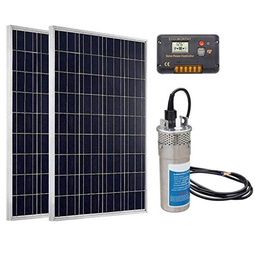 DC HOUSE Deep Well Water Pump System: 1pc 24V DC Stainless Submersible Pump + 2pc 100W Poly Solar Panel + 1pc Charge Controller - Barbed Port