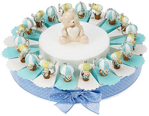 Sindy bomboniere 8054382130 torta nascita battesimo bimbo, resina, celeste, 3 x 4.5 x 4 cm