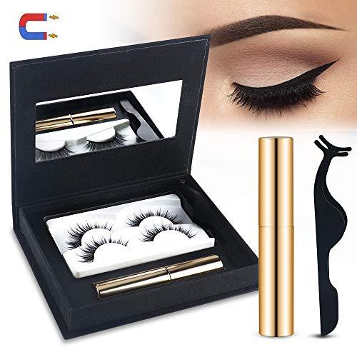 Magnetischer Eyeliner Wimpern Kit, Wasserdichter Langlebiger Magnetische Eyeliner mit 2 Pair Dichte Magnetische Wimpern und Pinzette