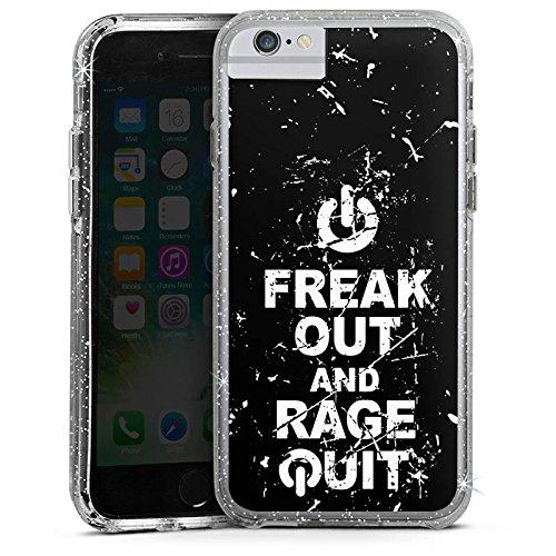 Apple iPhone X Bumper Hülle Bumper Case Glitzer Hülle Gamer Spruch Rage Quit Bumper Case Glitzer silber