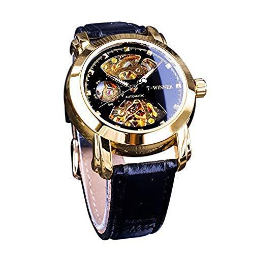 Winner Royal Herren-Armbanduhr, Retro-Design, goldenes Skelett