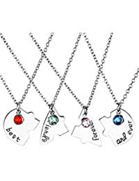 JOVIVI 4pc/set Silver Tone Best Friend Forever and Ever Heart Shape Puzzle BBF Friendship Pendant Necklace Jewelry Set