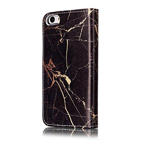 Cover iPhone 5C Marmo, iPhone 5C Flip Case Leather, SainCat Custodia in Pelle Cover per iPhone 5C, Anti-Scratch Book Style Protettiva Caso Elegante Creativa Dipinto Pattern Design PU Leather Flip Port marmo oro nero