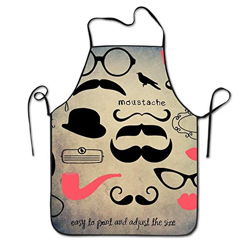 Desing shop Aprons for Girls Cooking Moustache Easy to Print and Adjust The Size Cap Glasses Frames Kitchen Woman Aprons Aprons Bulk Adultfunny