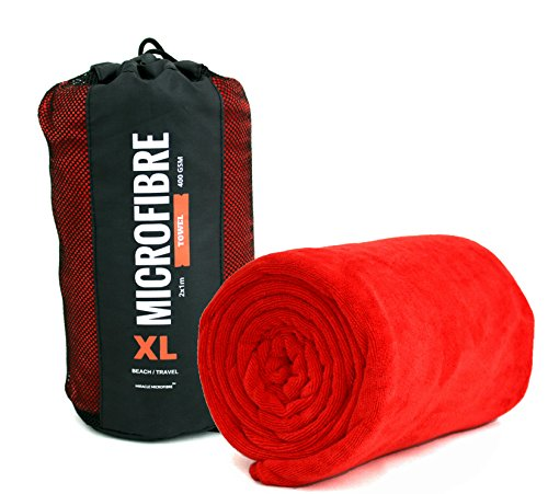 Xl, asciugamano da spiaggia/viaggio in microfibra, 2 x 1m, 400g/mq, super morbido, asciugatura rapida e altamente assorbente, red