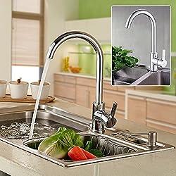 Auralum® 360° Drehbar Niederdruck Mischbatterie Armatur Wasserhahn Küchenarmatur Einhandmischer für Badezimmer Waschbecken ,verchrom