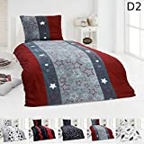 DreamHome Warme Winter Microfaser Thermo Fleece Bettwäsche 135x200 155x220 Bettbezug Modern, Design - Motiv:Design 2, Maße:135 cm x 200 cm
